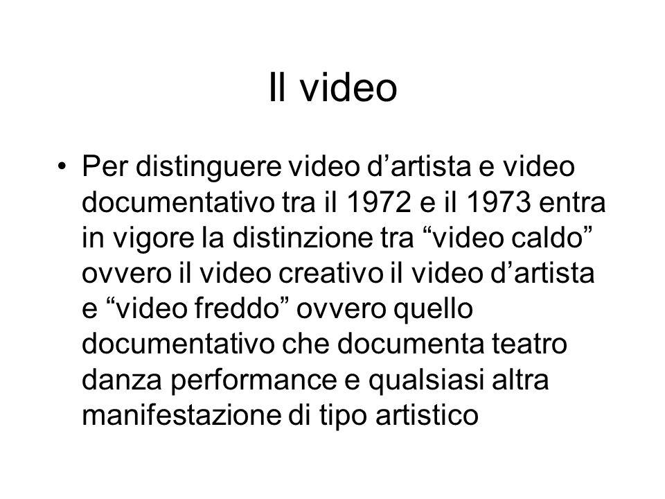 Il video Per distinguere video dartista e video documentativo tra il 1972 e il 1973 entra in vigore la distinzione tra video caldo ovvero il video cre