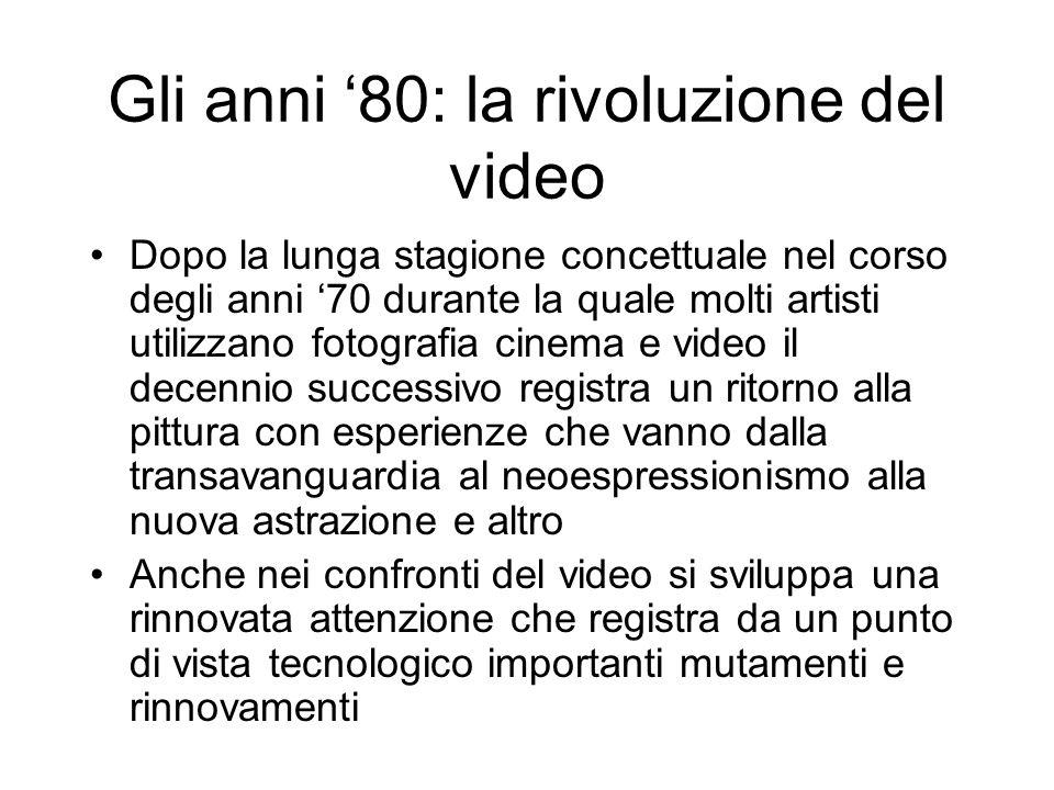 Gli anni 80: la rivoluzione del video Dopo la lunga stagione concettuale nel corso degli anni 70 durante la quale molti artisti utilizzano fotografia