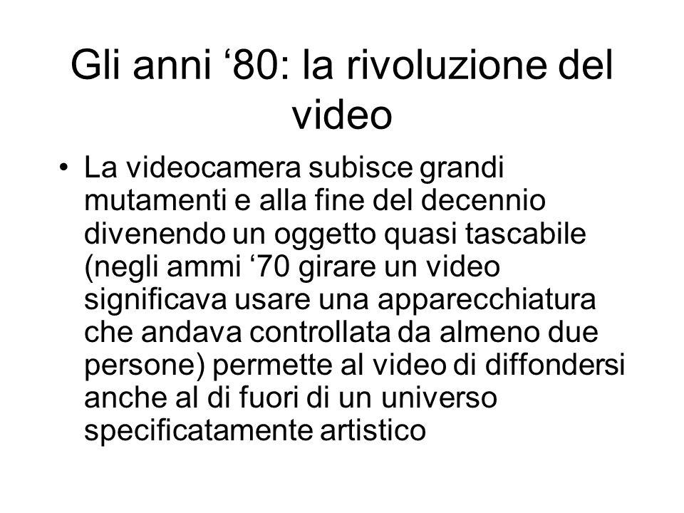Gli anni 80: la rivoluzione del video La videocamera subisce grandi mutamenti e alla fine del decennio divenendo un oggetto quasi tascabile (negli amm