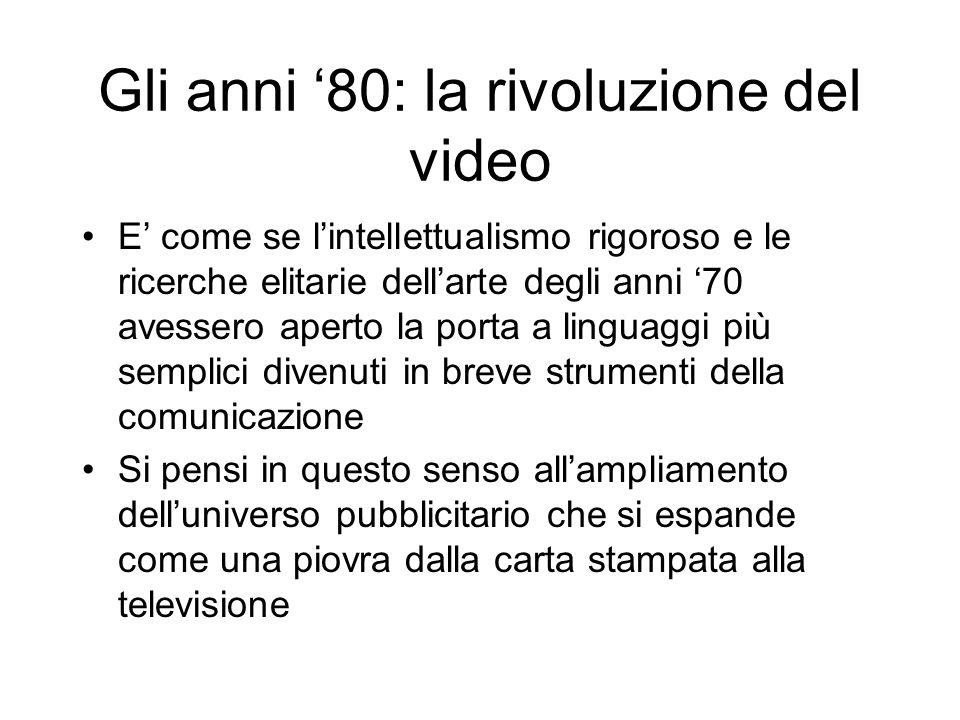Gli anni 80: la rivoluzione del video E come se lintellettualismo rigoroso e le ricerche elitarie dellarte degli anni 70 avessero aperto la porta a li