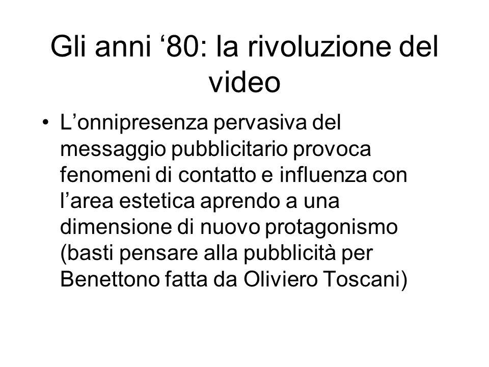 Gli anni 80: la rivoluzione del video Lonnipresenza pervasiva del messaggio pubblicitario provoca fenomeni di contatto e influenza con larea estetica