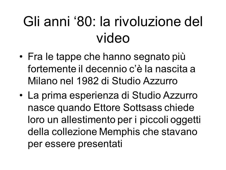 Gli anni 80: la rivoluzione del video Fra le tappe che hanno segnato più fortemente il decennio cè la nascita a Milano nel 1982 di Studio Azzurro La p