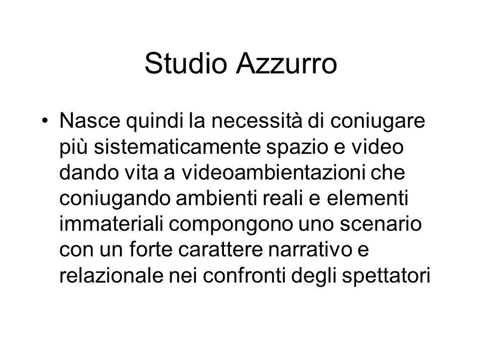 Studio Azzurro Nasce quindi la necessità di coniugare più sistematicamente spazio e video dando vita a videoambientazioni che coniugando ambienti real