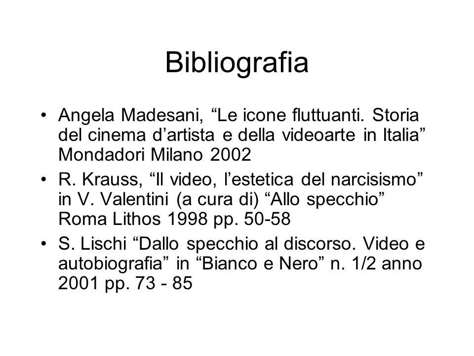 Bibliografia Angela Madesani, Le icone fluttuanti. Storia del cinema dartista e della videoarte in Italia Mondadori Milano 2002 R. Krauss, Il video, l