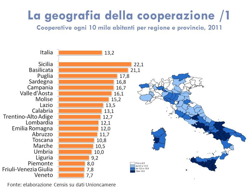 La geografia della cooperazione /1 Cooperative ogni 10 mila abitanti per regione e provincia, 2011 Fonte: elaborazione Censis su dati Unioncamere