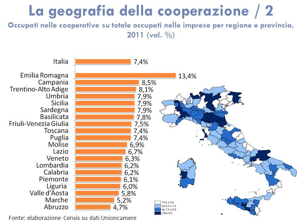 La geografia della cooperazione / 2 Occupati nelle cooperative su totale occupati nelle imprese per regione e provincia, 2011 (val. %) Fonte: elaboraz