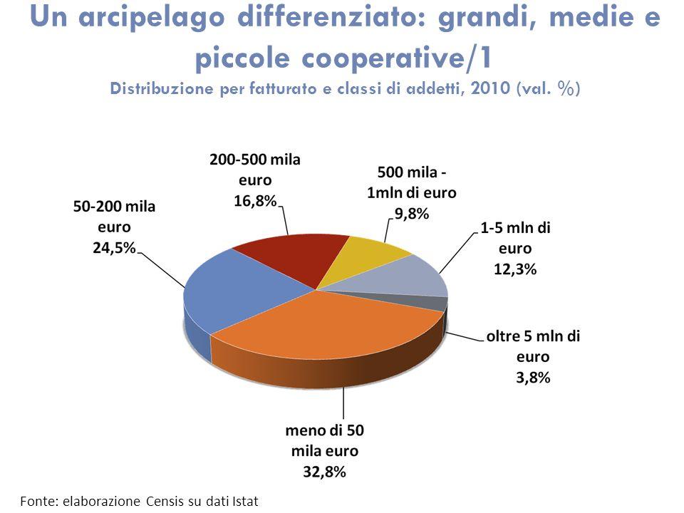 Un arcipelago differenziato: grandi, medie e piccole cooperative/1 Distribuzione per fatturato e classi di addetti, 2010 (val. %) Fonte: elaborazione