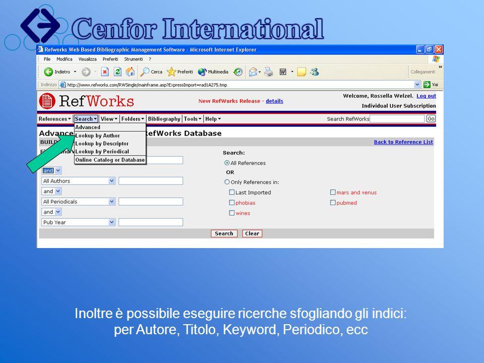 Inoltre è possibile eseguire ricerche sfogliando gli indici: per Autore, Titolo, Keyword, Periodico, ecc