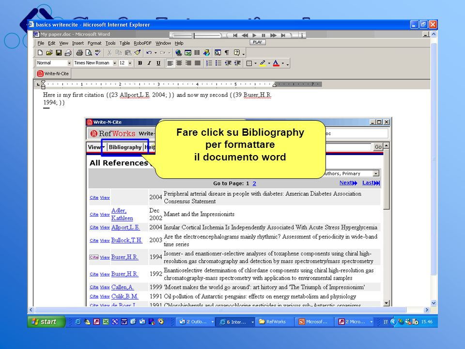 Fare click su Bibliography per formattare il documento word
