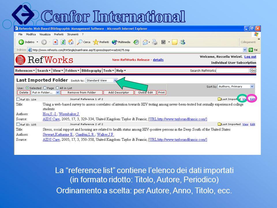 La reference list contiene lelenco dei dati importati (in formato ridotto: Titolo, Autore, Periodico) Ordinamento a scelta: per Autore, Anno, Titolo,