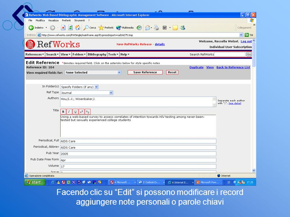 Facendo clic su Edit si possono modificare i record aggiungere note personali o parole chiavi