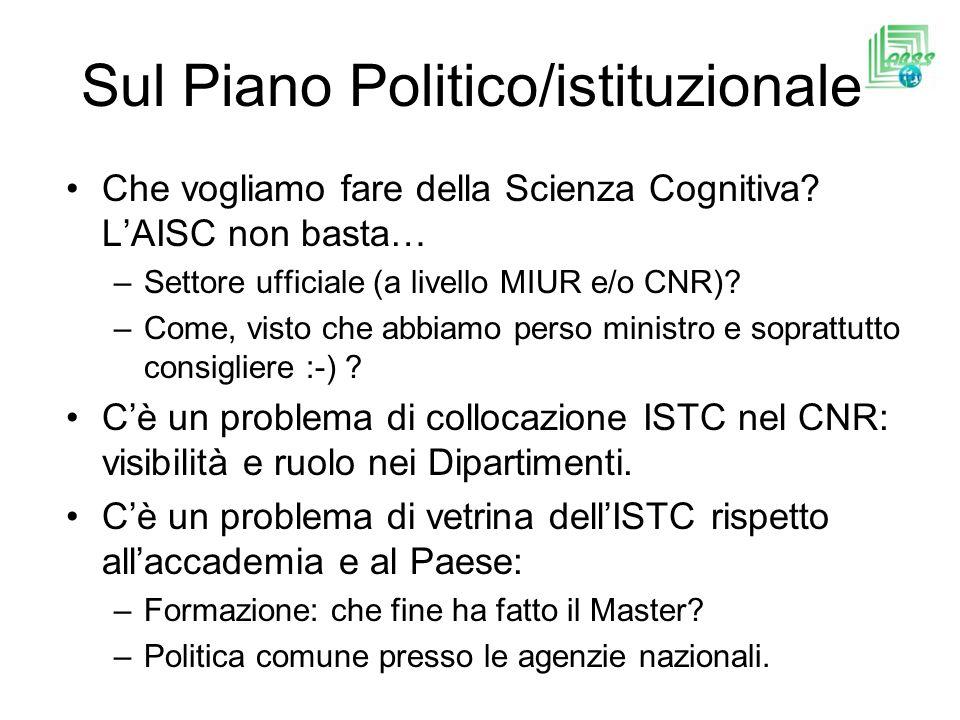 Sul Piano Politico/istituzionale Che vogliamo fare della Scienza Cognitiva.