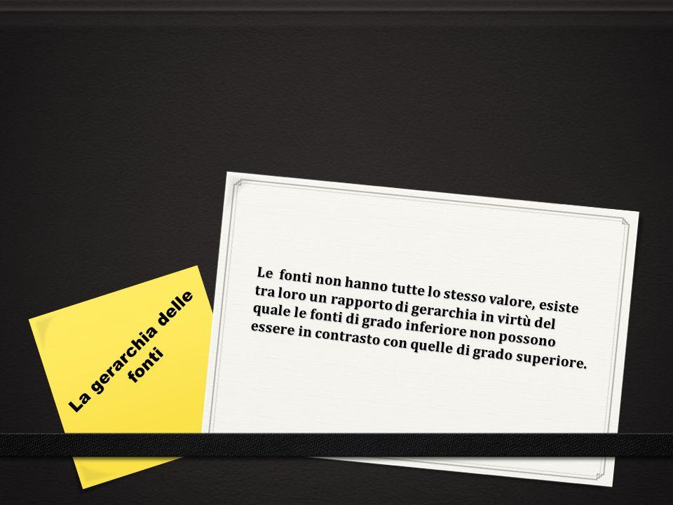 Le fonti del diritto italiano sono organizzate nel seguente modo: 1.