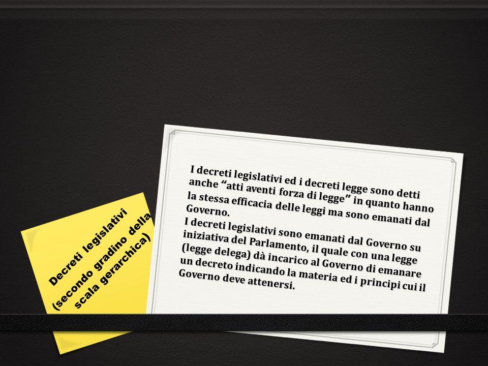 I decreti legge sono provvedimenti aventi forza di legge emanati dal Governo in casi straordinari di necessità e di urgenza.