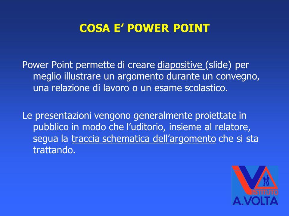 Cosa è Power Point Finalità della presentazione Prima di iniziare Inserire testo Inserire immagini/grafici/pulsanti Link a file di testo Conclusioni I