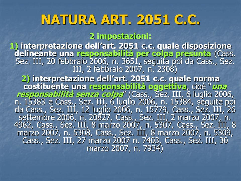 NATURA ART.2051 C.C. 2 impostazioni: 1) interpretazione dellart.