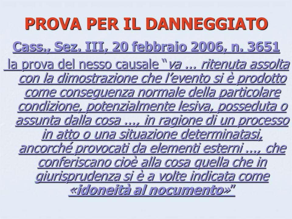 PROVA PER IL DANNEGGIATO Cass., Sez.III, 20 febbraio 2006, n.
