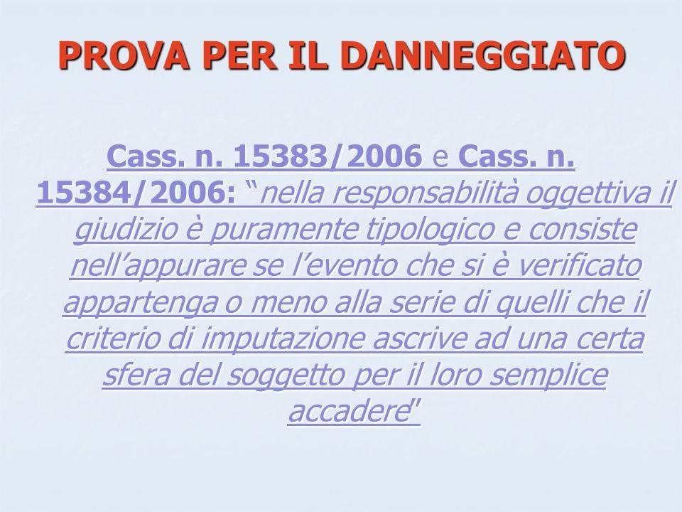 PROVA PER IL DANNEGGIATO Cass.n. 15383/2006 e Cass.