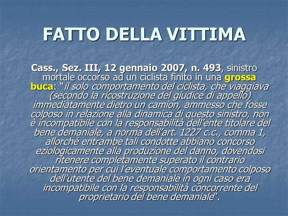FATTO DELLA VITTIMA Cass., Sez.III, 12 gennaio 2007, n.