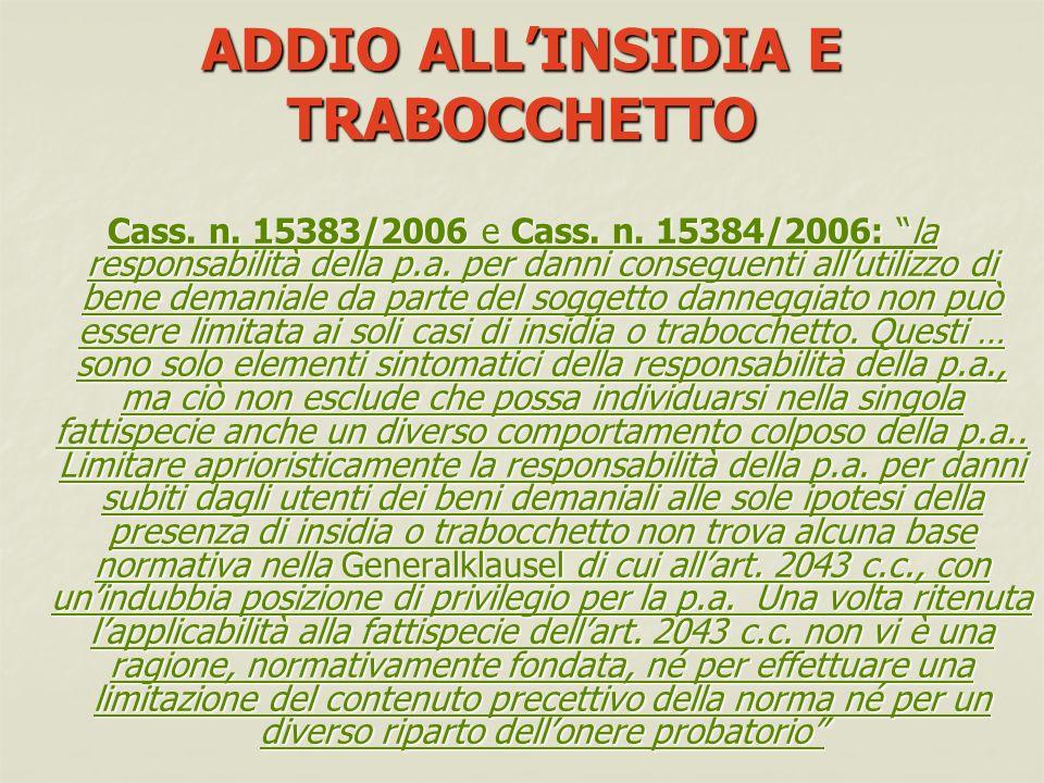 ADDIO ALLINSIDIA E TRABOCCHETTO Cass.n. 15383/2006 e Cass.