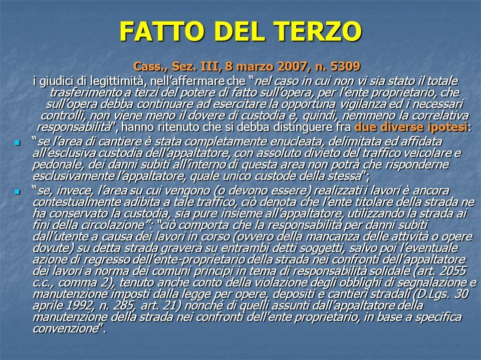 FATTO DEL TERZO Cass., Sez.III, 8 marzo 2007, n. 5309 Cass., Sez.
