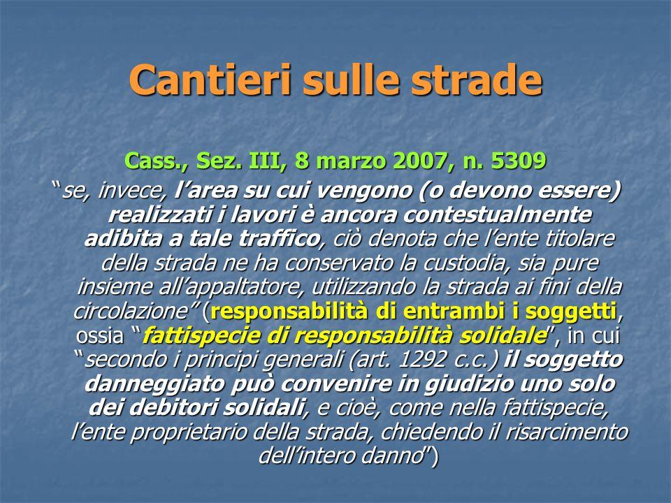 Cantieri sulle strade Cass., Sez.III, 8 marzo 2007, n.