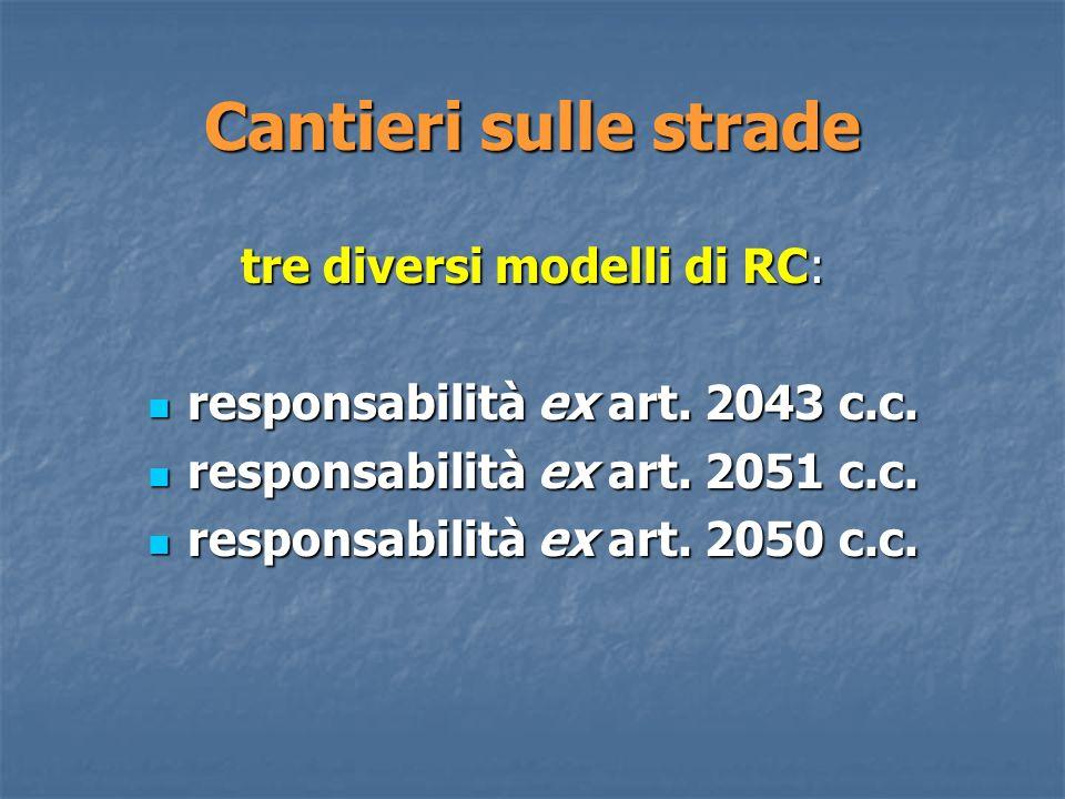 Cantieri sulle strade tre diversi modelli di RC: responsabilità ex art.