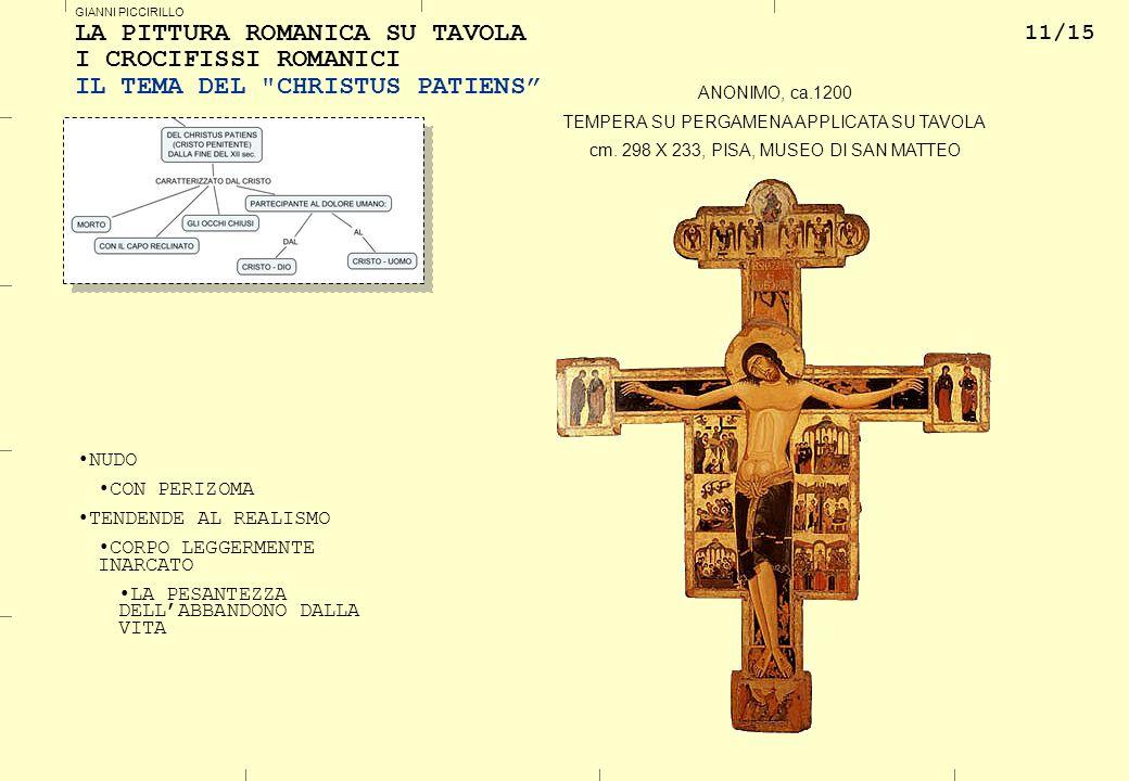 11/15 GIANNI PICCIRILLO LA PITTURA ROMANICA SU TAVOLA I CROCIFISSI ROMANICI IL TEMA DEL CHRISTUS PATIENS NUDO CON PERIZOMA TENDENDE AL REALISMO CORPO LEGGERMENTE INARCATO LA PESANTEZZA DELLABBANDONO DALLA VITA ANONIMO, ca.1200 TEMPERA SU PERGAMENA APPLICATA SU TAVOLA cm.