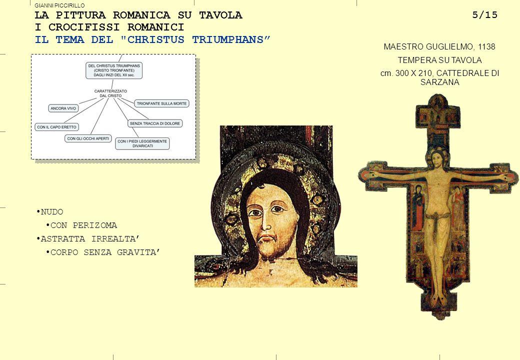 5/15 GIANNI PICCIRILLO LA PITTURA ROMANICA SU TAVOLA I CROCIFISSI ROMANICI IL TEMA DEL CHRISTUS TRIUMPHANS MAESTRO GUGLIELMO, 1138 TEMPERA SU TAVOLA cm.