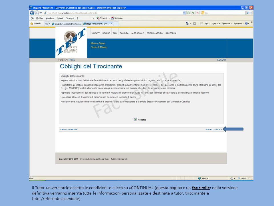 Il Tutor universitario accetta le condizioni e clicca su «CONTINUA» (questa pagina è un fac simile: nella versione definitiva verranno inserite tutte