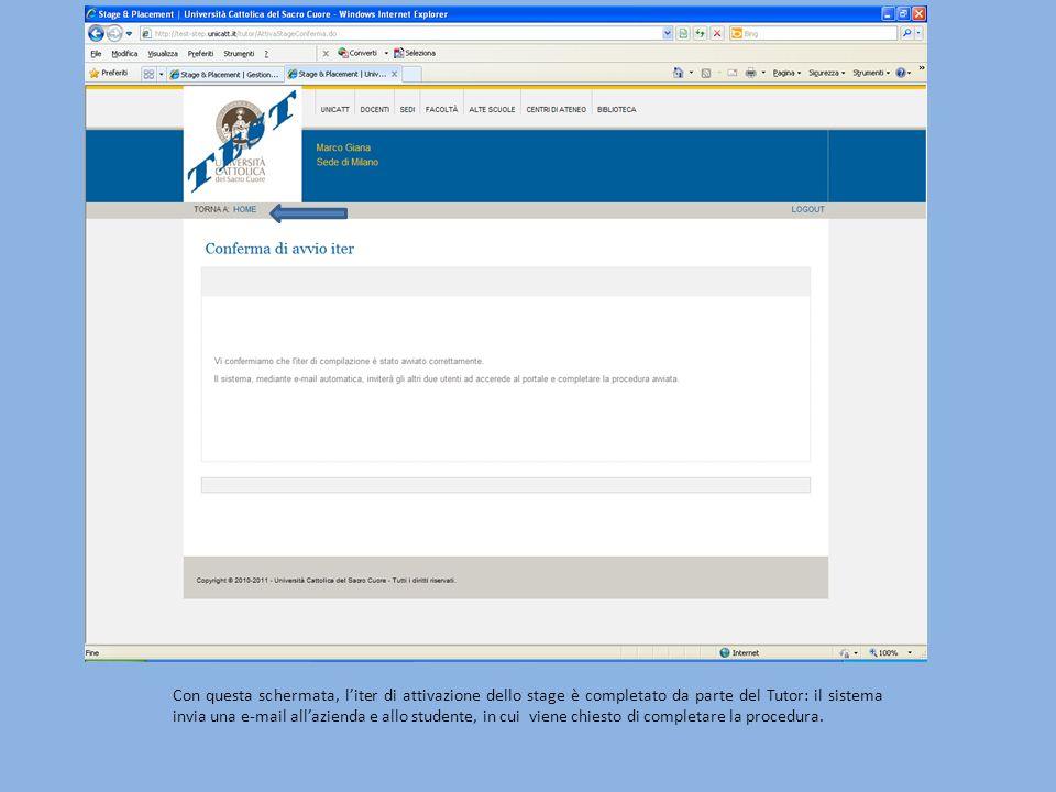 Con questa schermata, liter di attivazione dello stage è completato da parte del Tutor: il sistema invia una e-mail allazienda e allo studente, in cui