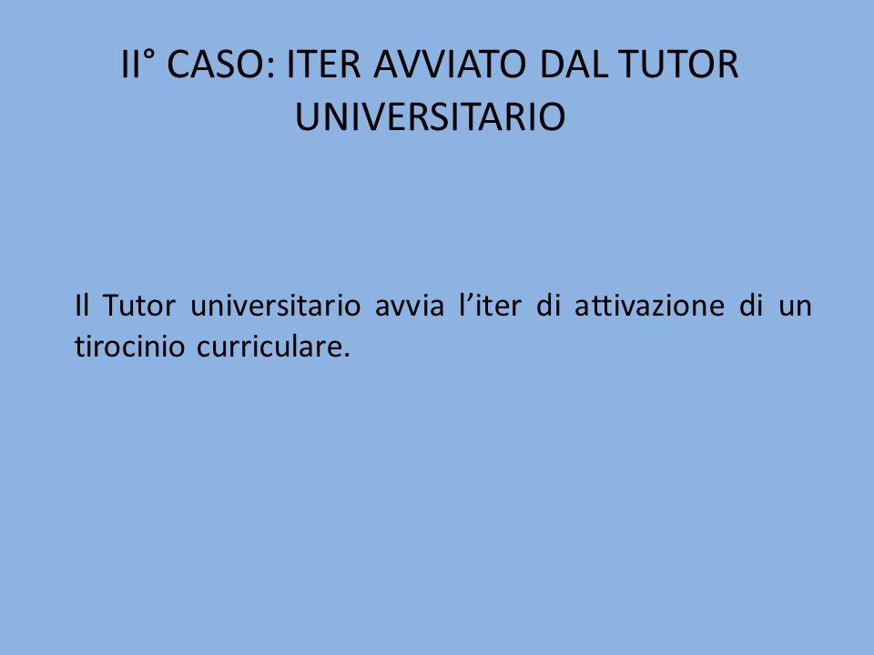 Il Tutor universitario avvia liter di attivazione di un tirocinio curriculare. II° CASO: ITER AVVIATO DAL TUTOR UNIVERSITARIO