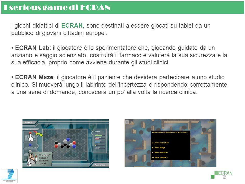 I serious game di ECRAN I giochi didattici di ECRAN, sono destinati a essere giocati su tablet da un pubblico di giovani cittadini europei.