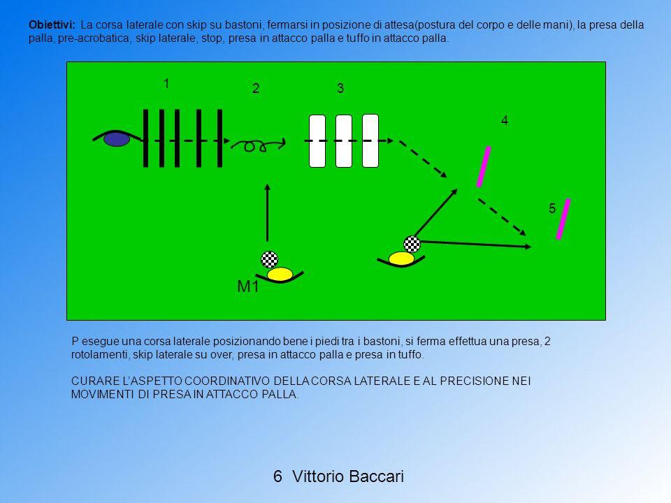 P esegue una corsa laterale posizionando bene i piedi tra i bastoni, si ferma effettua una presa, 2 rotolamenti, skip laterale su over, presa in attac