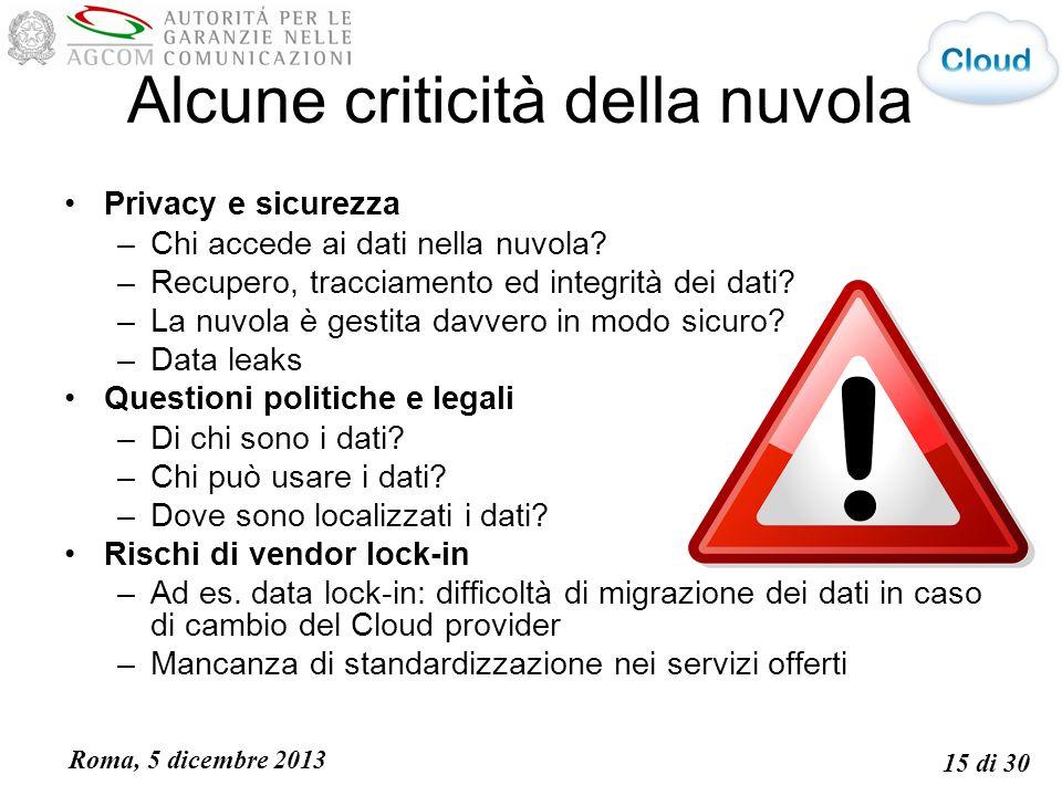 Roma, 5 dicembre 2013 15 di 30 Alcune criticità della nuvola Privacy e sicurezza –Chi accede ai dati nella nuvola.