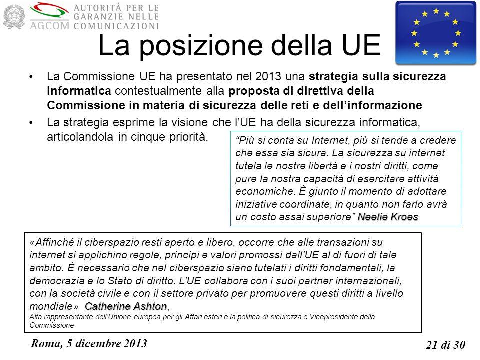 Roma, 5 dicembre 2013 21 di 30 La posizione della UE La Commissione UE ha presentato nel 2013 una strategia sulla sicurezza informatica contestualmente alla proposta di direttiva della Commissione in materia di sicurezza delle reti e dellinformazione La strategia esprime la visione che lUE ha della sicurezza informatica, articolandola in cinque priorità.