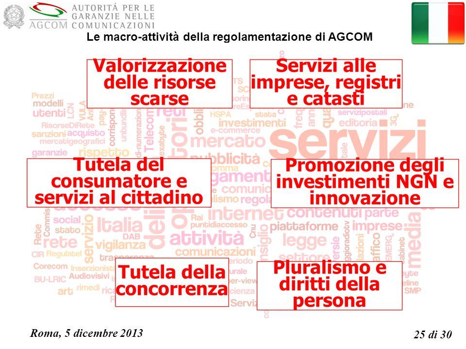 Roma, 5 dicembre 2013 25 di 30 Le macro-attività della regolamentazione di AGCOM