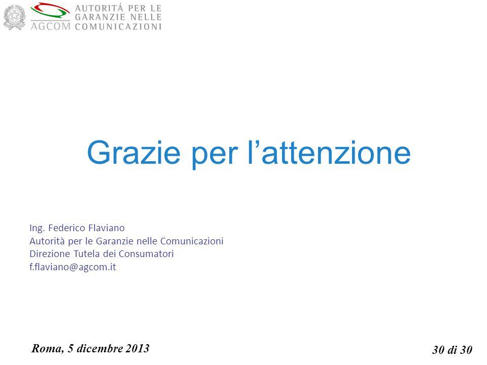 Roma, 5 dicembre 2013 30 di 30 Grazie per lattenzione Ing.