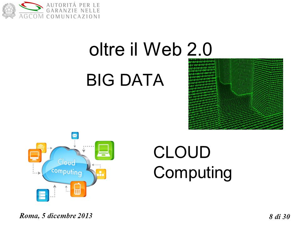 Roma, 5 dicembre 2013 8 di 30 oltre il Web 2.0 BIG DATA CLOUD Computing