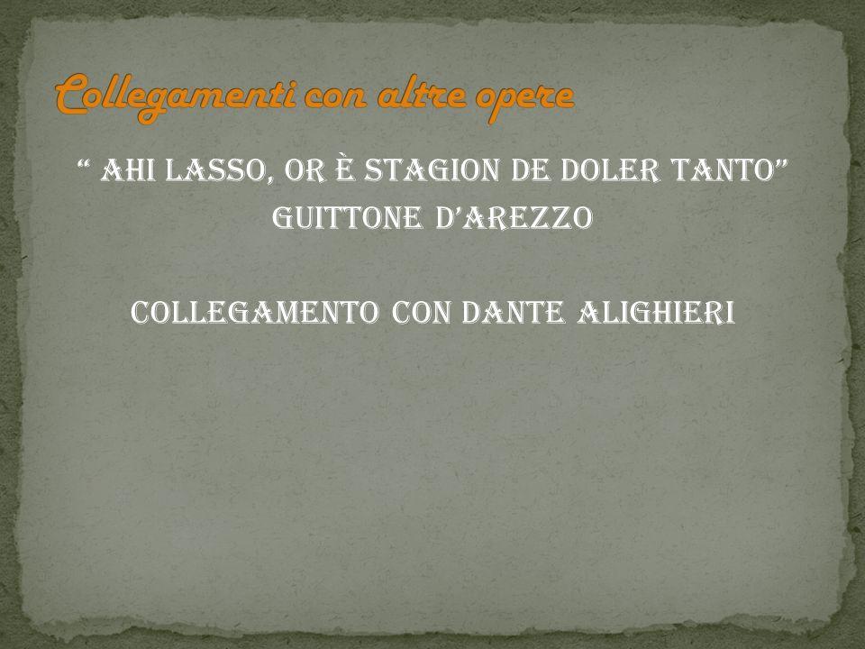Ahi lasso, or è stagion de doler tanto Guittone dArezzo Collegamento con Dante Alighieri