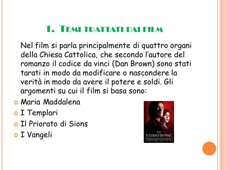 1. T EMI TRATTATI DAI FILM Nel film si parla principalmente di quattro organi della Chiesa Cattolica, che secondo lautore del romanzo il codice da vin
