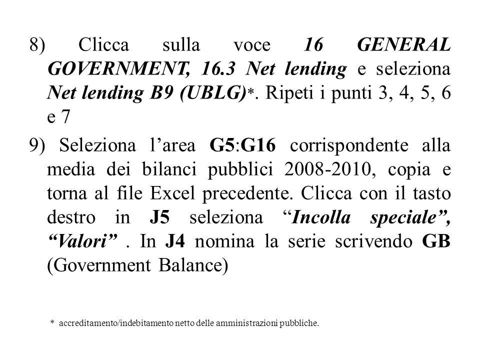 8) Clicca sulla voce 16 GENERAL GOVERNMENT, 16.3 Net lending e seleziona Net lending B9 (UBLG) *.