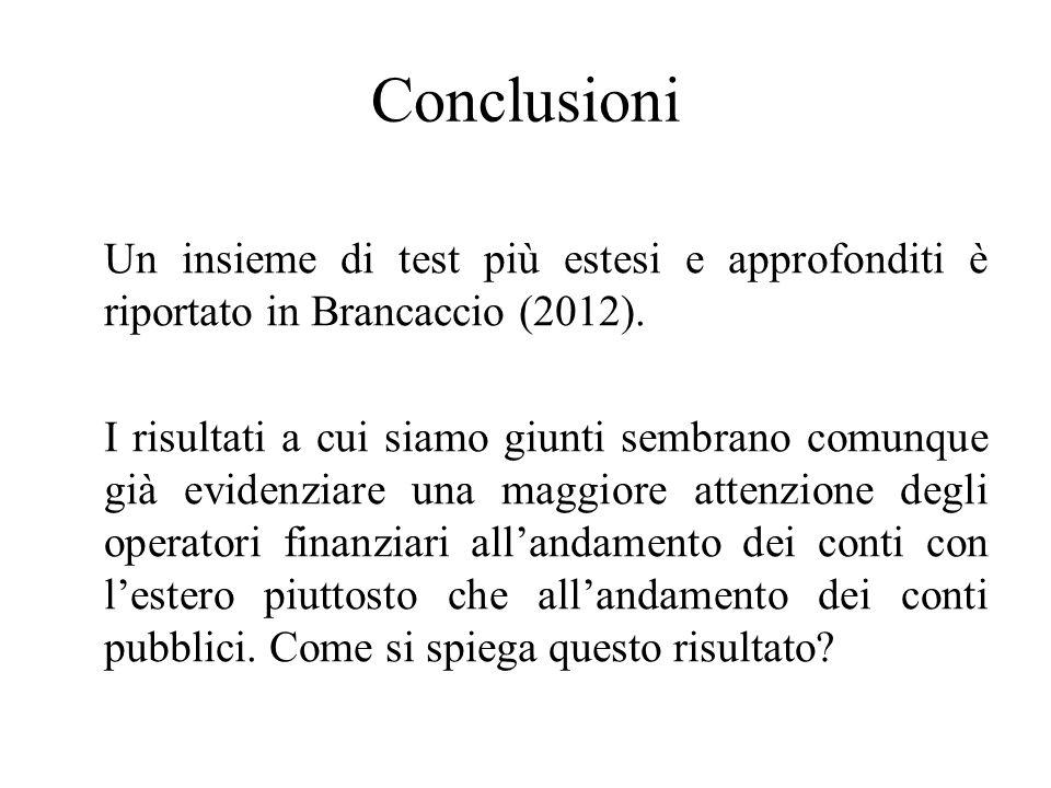 Conclusioni Un insieme di test più estesi e approfonditi è riportato in Brancaccio (2012).