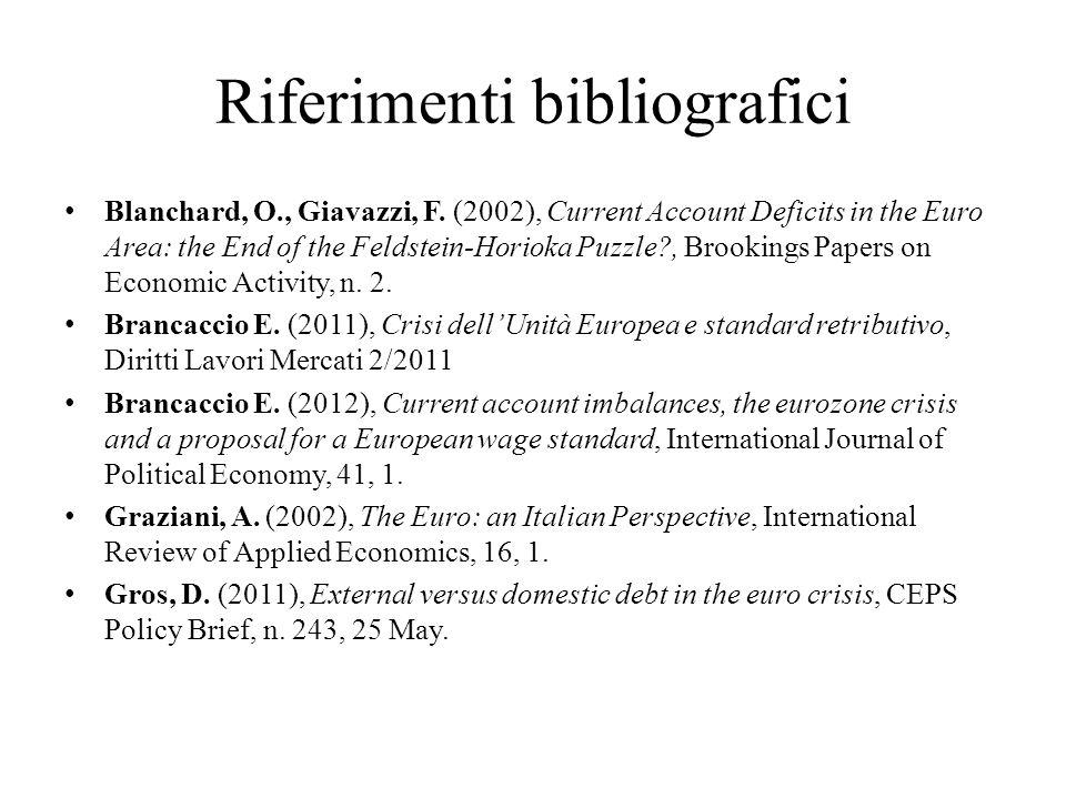 Riferimenti bibliografici Blanchard, O., Giavazzi, F.