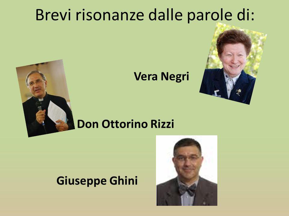Brevi risonanze dalle parole di: Vera Negri Giuseppe Ghini Don Ottorino Rizzi