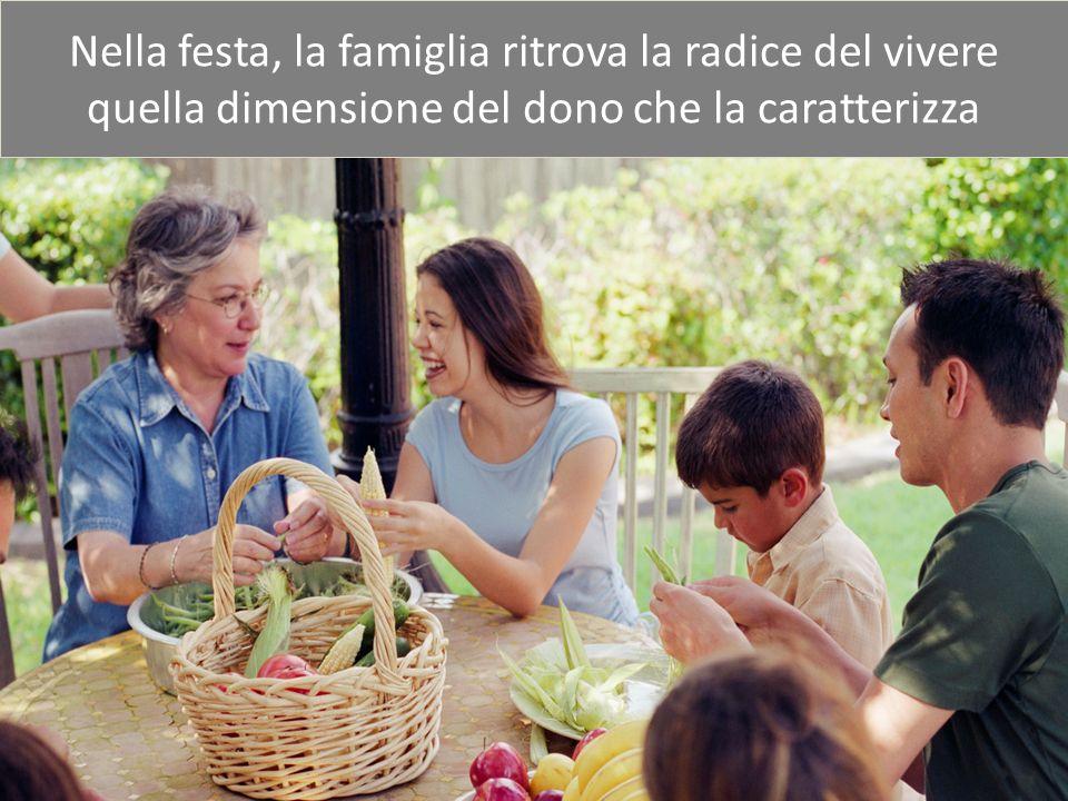 Nella festa, la famiglia ritrova la radice del vivere quella dimensione del dono che la caratterizza