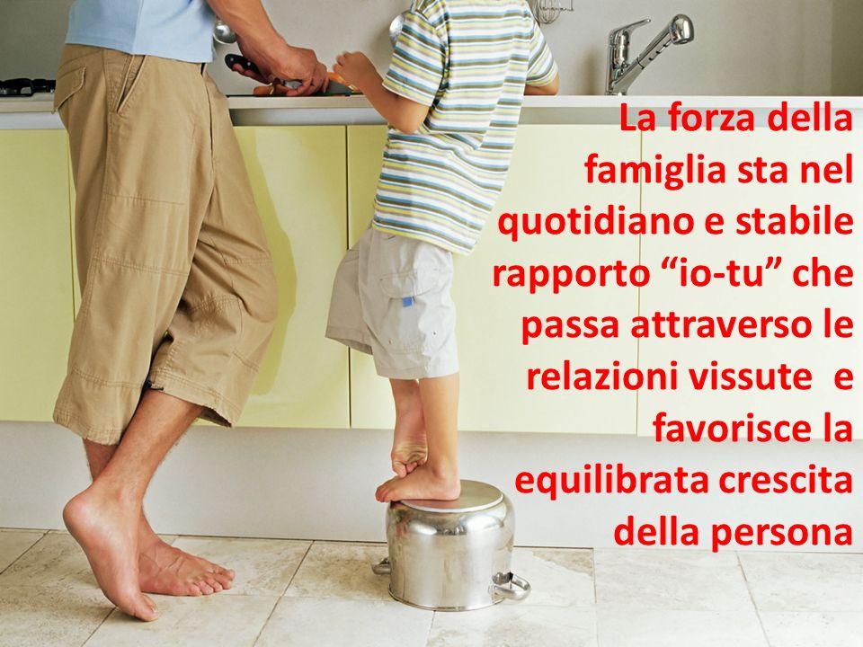 La forza della famiglia sta nel quotidiano e stabile rapporto io-tu che passa attraverso le relazioni vissute e favorisce la equilibrata crescita dell