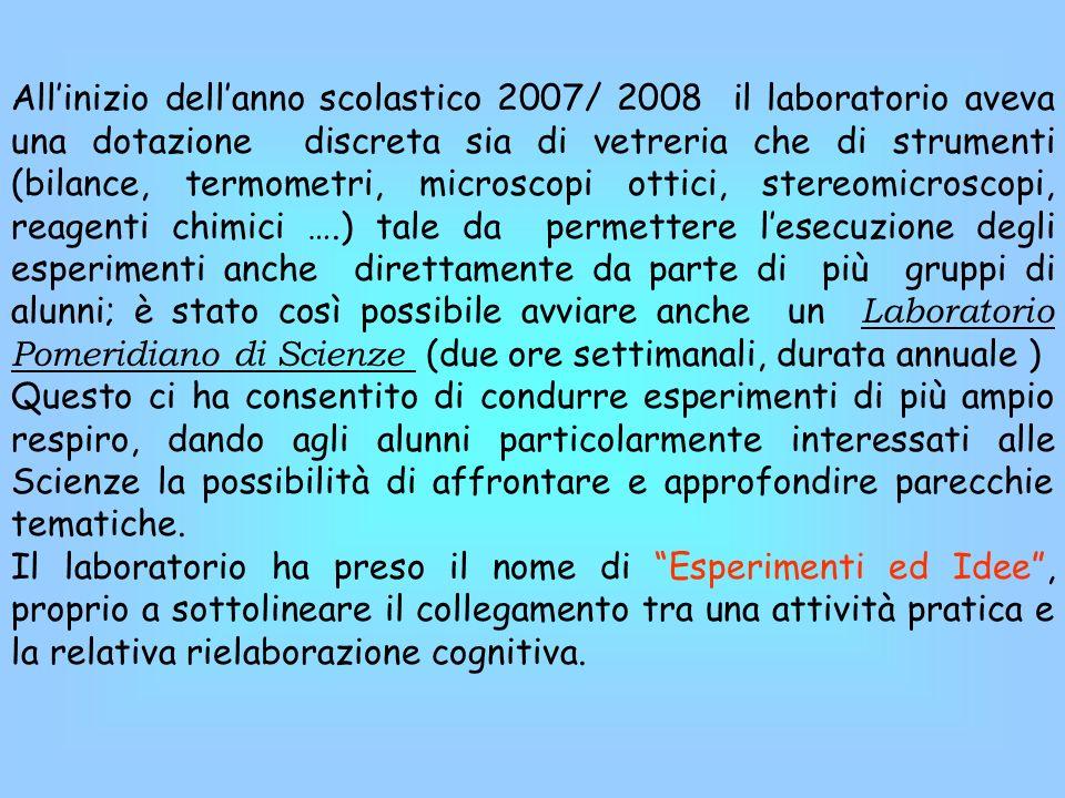 Allinizio dellanno scolastico 2007/ 2008 il laboratorio aveva una dotazione discreta sia di vetreria che di strumenti (bilance, termometri, microscopi
