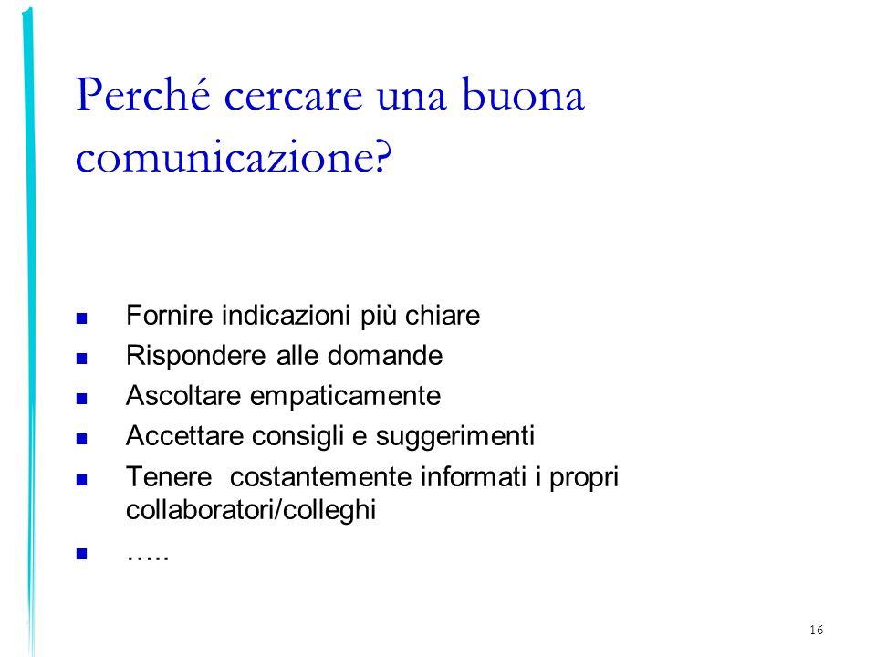 16 Perché cercare una buona comunicazione? Fornire indicazioni più chiare Rispondere alle domande Ascoltare empaticamente Accettare consigli e suggeri