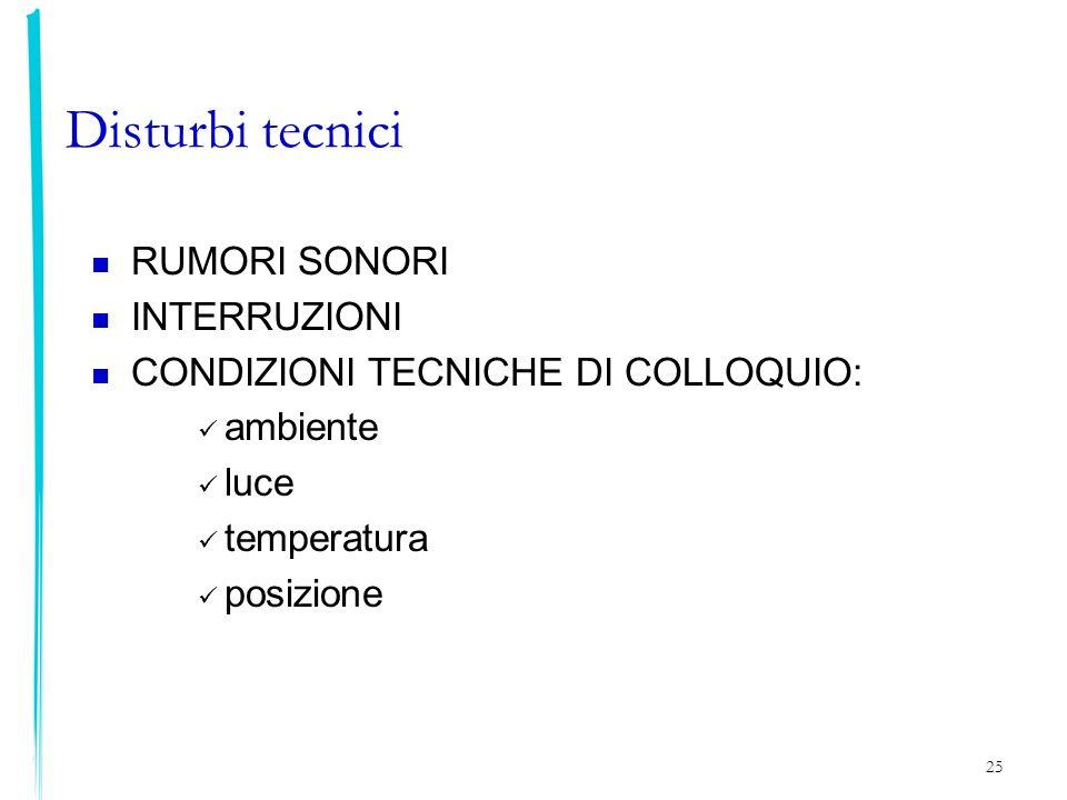 25 Disturbi tecnici RUMORI SONORI INTERRUZIONI CONDIZIONI TECNICHE DI COLLOQUIO: ambiente luce temperatura posizione